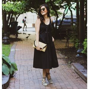 Who What Wear Black Midi Dress With Pockets
